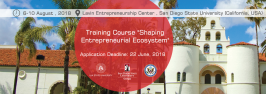 "Apply for training course ""Shaping Entrepreneurial ECOsystem"" – at Lavin Entrepreneurship Center, San Diego State Univrsity (SDSU), California (USA)"