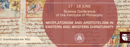 "International conference on ""Neoplatonism and Aristotelism in Eastern and Western Christianity"""