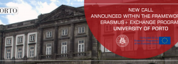 New Call announced within the framework of ERASMUS+ Exchange Program (University of Porto)