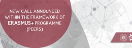 NEW CALL ANNOUNCED WITHIN THE FRAMEWORK OF ERASMUS+ PROGRAMME (PEERS)